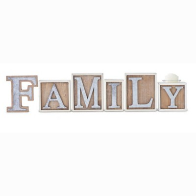 K & K Interiors Wood Family Bricks With Tin Letters