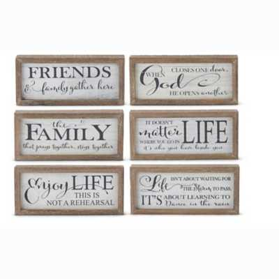 K & K Interiors Assorted White Wood Message Tabletop Signs