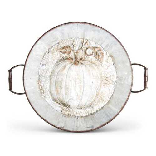 K & K Interiors Whitewashed Galvanized Tin Pumpkin Tray