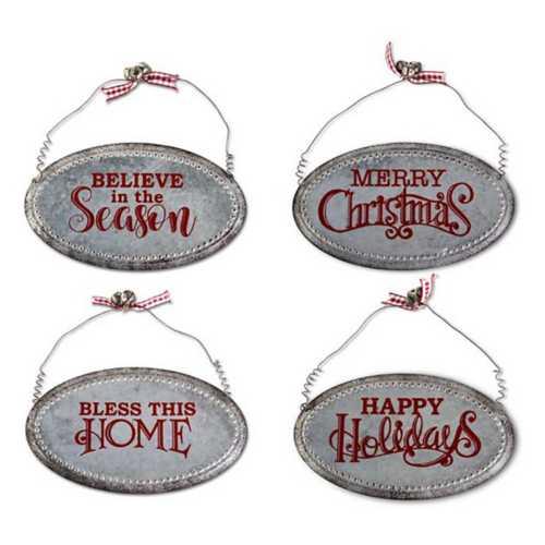 K&K Interiors Galvanized Metal Christmas Message Ornament