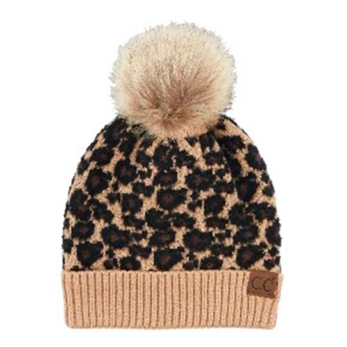 Women's C.C Leopard Fur Pom Beanie