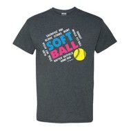 Youth Girls' ImageSport Softball Slanted Words Short Sleeve Shirt