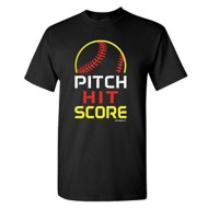 Women's ImageSport Softball Stacked Pitch, Hit, Score Short Sleeve Shirt