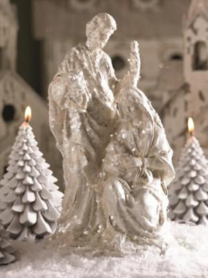 K & K Interiors White Giltter Nativity