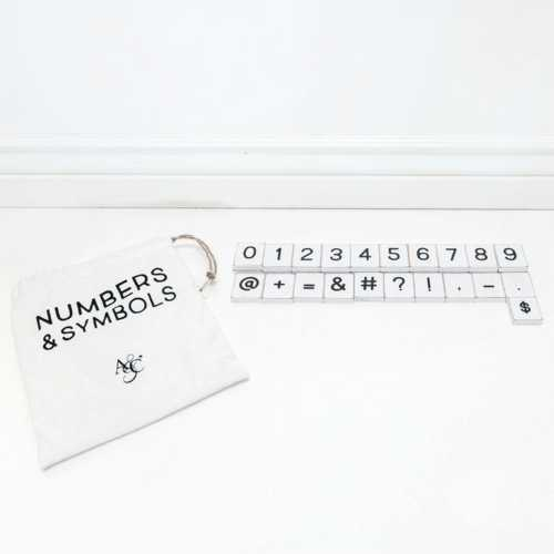 Adams & Co. White Numbers And Symbols-30 Pieces