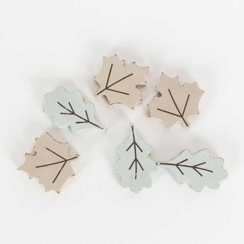 Adams & Co 6 Pc Wood Leaf Tiles