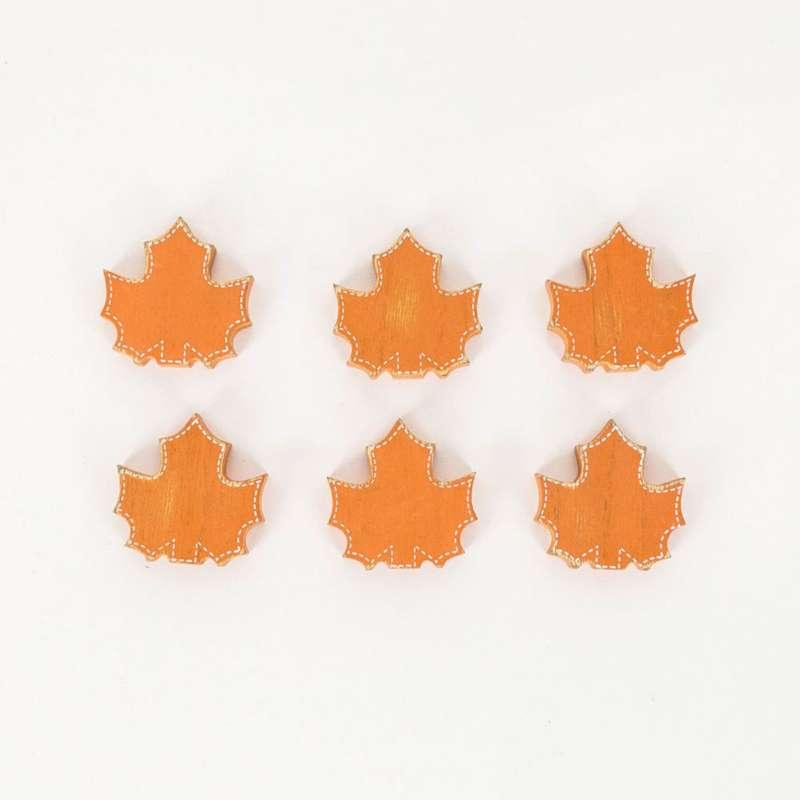 Adams & Co 6 Pc Maple Leaf Wood Tiles