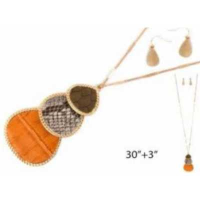 Women's Accessorize Me Necklace & Earring Leather Teardrop Set