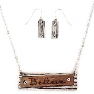 Women's Accessorize Me Etched Believe Necklace & Earring Set