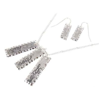 Women's Accessorize Me Silver Faith, Hope, Love Necklace & Earring Set