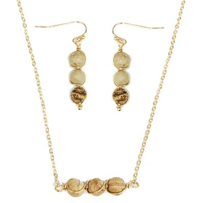 Women's Accessorize Me Delicate Natural Stone Necklace & Earring Set