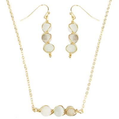 Women's Accessorize Me Delicate Cool Tone Stone Necklace & Earring Set