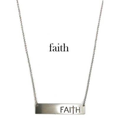 Women's Accessorize Me Silver Faith Bar Necklace