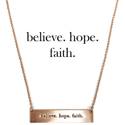 Women's Accessorize Me Faith, Hope, Believe Rose Gold Necklace