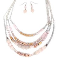 Women's Accessorize Me Layered Blush Beads Necklace & Earring Set