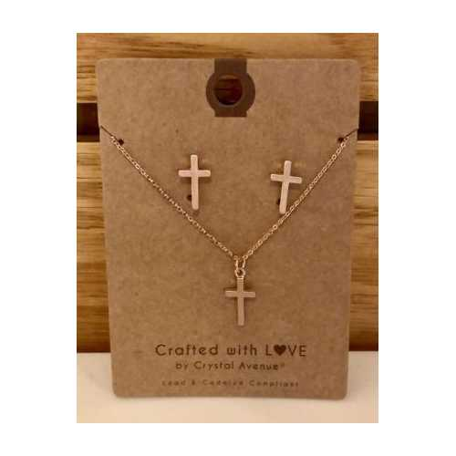 Women's Accessorize Me Rose Gold Petite Cross Set