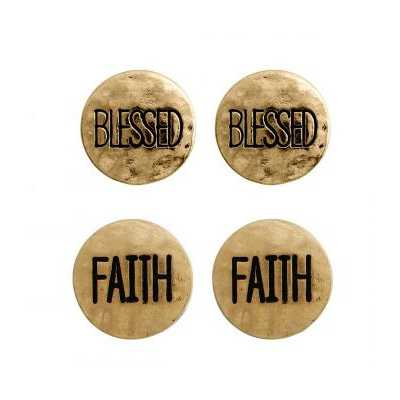 Women's Accessorize Me Gold 2 Pair Faith & Blessed Earrings