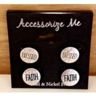 Women's Accessorize Silver 2 Pair Faith & Blessed Earrings