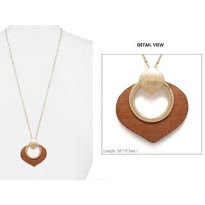 Women's Accessorize Me Long Gold/Bown Wooden Pendant Necklace
