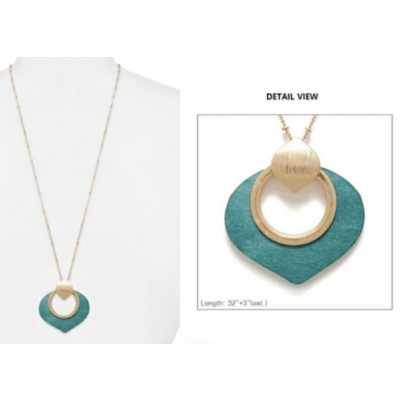 Women's Accessorize Me Long Gold/Teal Necklace