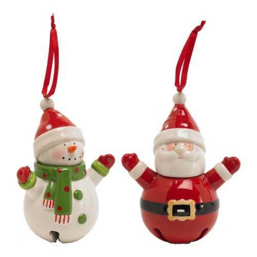 K&K Interiors Assorted Snowman & Santa Bell Ornaments