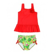 Toddler Girls' RuffleButts Poppy Red Puerto Vallarta Peplum Tankini Set