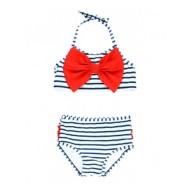 Toddler Girls' RuffleButts Navy Stripe Bow Bikini Set