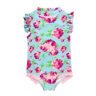 Toddler Girls' RuffleButts Life is Rosy One Piece Swimsuit