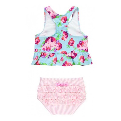 Infant Girls' RuffleButts Life is Rosy Peplum Tankini