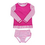 Infant Girls' RuffleButts Berry Striped Polka Long Sleeve Rash Guard