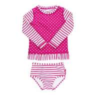 Toddler Girls' RuffleButts Berry Striped Polka Long Sleeve Rash Guard