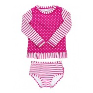 Infant Gir's RuffleButts Berry Striped Polka Dot Long Sleeve Rash Guard Bikini Set