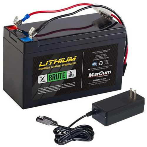 """MarCum """"Brute"""" 12v 10AH Lithium Battery W/ 3Amp Charger Kit"""