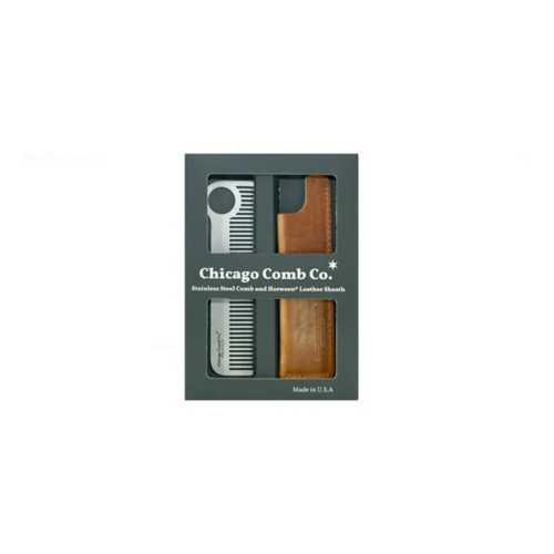 Chicago Comb Co. Stainless Steel Comb + Horween Leather Sheath Set