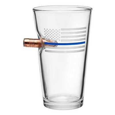 BenShot Thin Blue Line 16oz Pint Glass