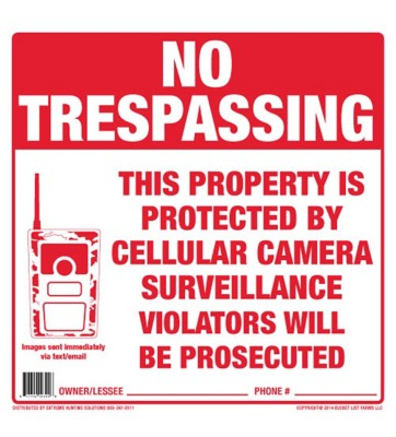 Xtreme Hunting Solutions No Trespassing Sign