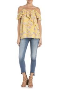 Women's Miss Me Open Shoulder Floral Off-The-Shoulder Short Sleeve Shirt