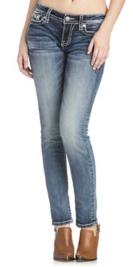Miss Me Jeans Hanging Petals Mid-Rise Skinny Jean
