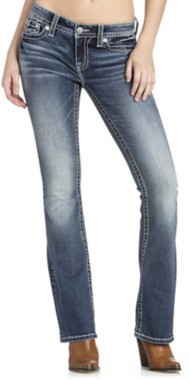 Miss Me Jeans Feather Embroidered Mid-Rise Boot Cut Jean