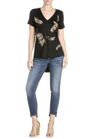 Miss Me Jeans Feather Embroidered Open Back Shirt