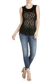 Miss Me Jeans Tribal-Inspired Detail Open Back Shirt
