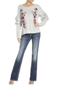 Miss Me Jeans Floral Embroidered Ruffle Sleeve Shirt