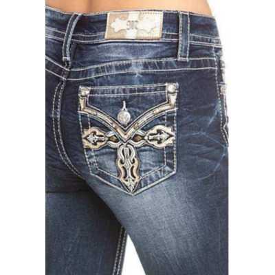 Women's Miss Me Ornate Cross Skinny Pant