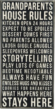 Primitives by Kathy Grandparents House Rules Box Sign