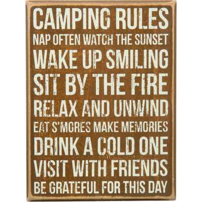 Primitives by Kathy Camping Rules Box Sign