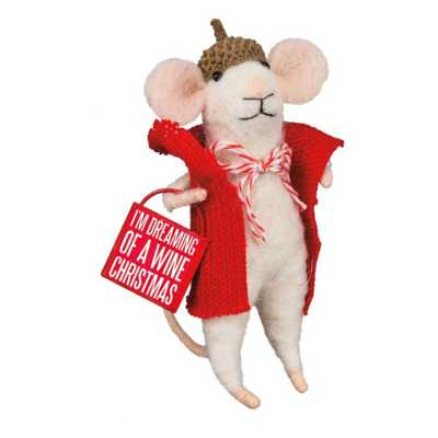 Primitives by Kathy Wine Christmas Mouse Figure