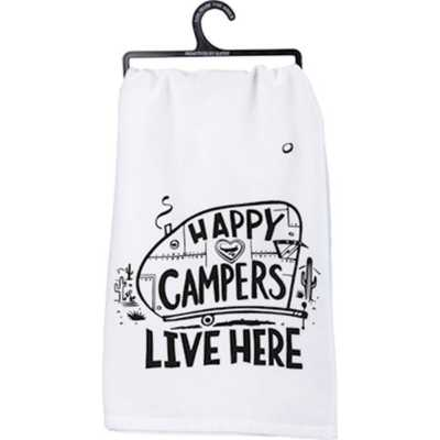 Primitives by Kathy  Happy Campers Dish Towel