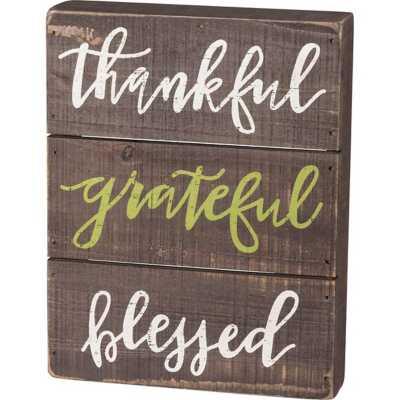 Primitives by Kathy Slat Box Sign - Thankful