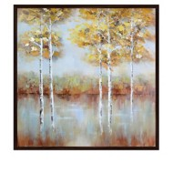 Crestview Collection Golden Square Framed Painted Canvas