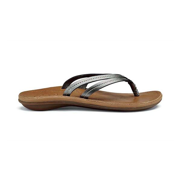 755b3ddddd07 ... Women s OluKai UI Leather Flip Flop Sandals Tap to Zoom  Pewter Sahara